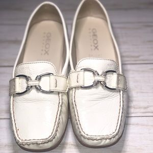 Geox White Patent Loafer
